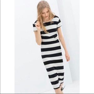 Zara black and white striped low back bodycon midi